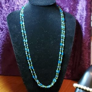 Infinity Blue and Greenish Yellow Beads Necklace